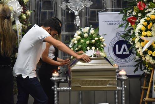 Funeral de Nicolás Suarez, asesinado junto con otros cuatro estudiantes en Buga, Valle del Cauca, Colombia, en enero 2021. EPA-EFE/ Ernesto Guzman Jr