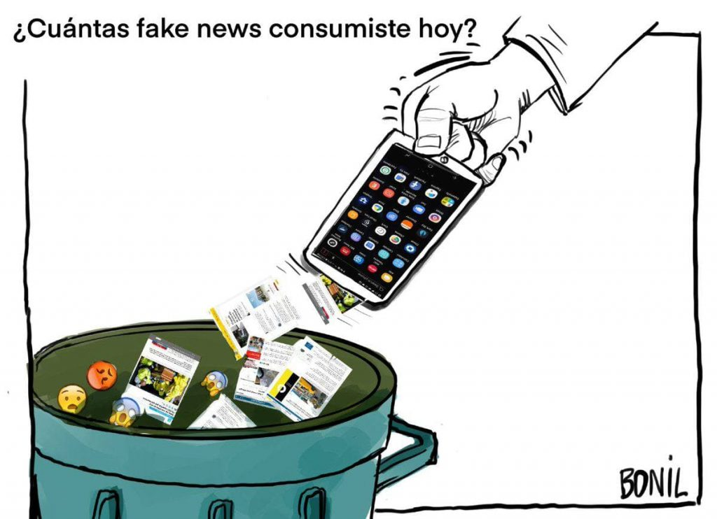 Viñeta satírica sobre el consumo de noticias falsas
