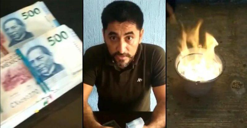 Un profesor mexicano quema más de 50.000 dólares de un presunto soborno / Imagen: Noticia Al Minuto